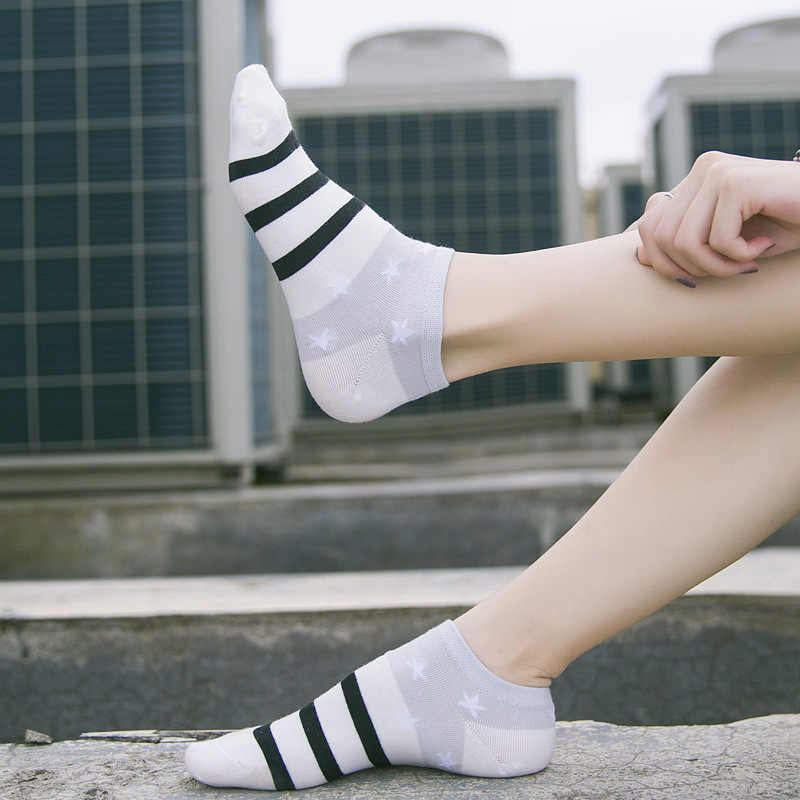 綿ボートソックス女性スターストライプ靴下足首低女性に見えない色ガールボーイスリッパカジュアル靴下 1 ペア = 2 個 ws106