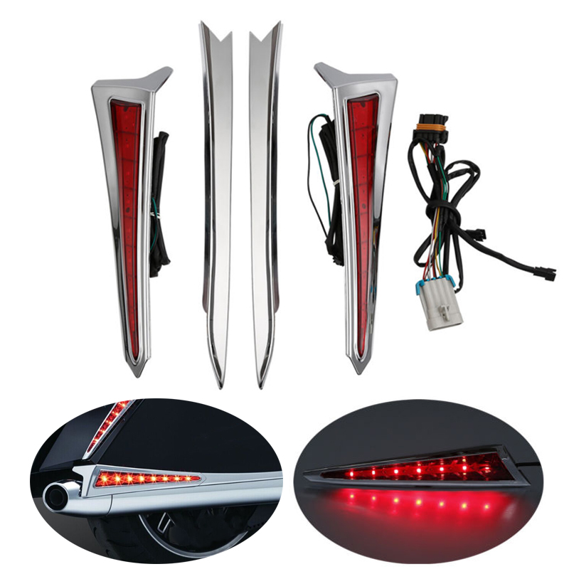 Motorcycle Chrome Rear Saddlebag Extensions LED Lights For Victory Cross 10-14 Country Hard-Ball 12-13 Tour Magnum 10-17 цена