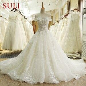 Image 1 - SL 66 תמונה אמיתית 100% בציר יוקרה תחרה כדור שמלת כלה שמלות כלה עם שרוולי aliexpress בתוספת גלימת דה bal noiva vestido