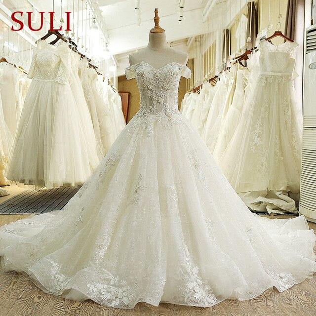 SL 66 תמונה אמיתית 100% בציר יוקרה תחרה כדור שמלת כלה שמלות כלה עם שרוולי aliexpress בתוספת גלימת דה bal noiva vestido