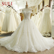 SL 66 Real Photo 100% Vintage Luxury Lace Ball Gown Bridal Wedding Dress with Sleeves aliexpress plus robe de bal noiva vestido