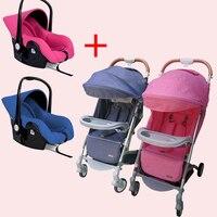 Близнецы детская коляска отправить два автокресла Новорожденных twin коляска travel system отправить сиденье автомобиля и бесплатный подарок свет