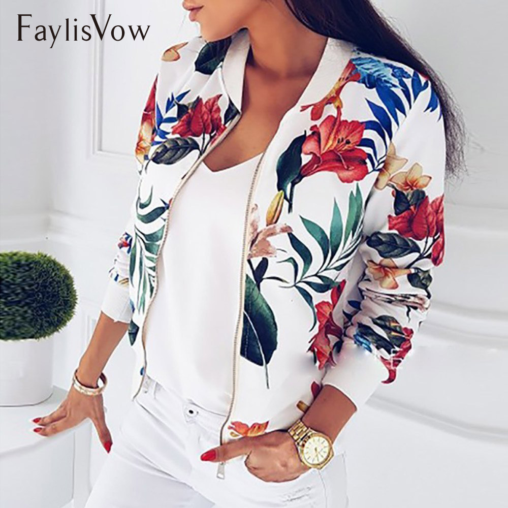 4XL 5XL Big Size Women Short Jacket Retro Floral Printed Long Sleeve Zipper Bomber Jackets Autumn Coat Female Biker Outwear Tops(China)
