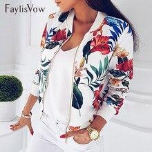 da50c58ebfba1 4XL 5XL большой размеры для женщин короткая куртка в стиле ретро с  цветочным принтом длинным рукавом на молнии бомбер куртки осе.