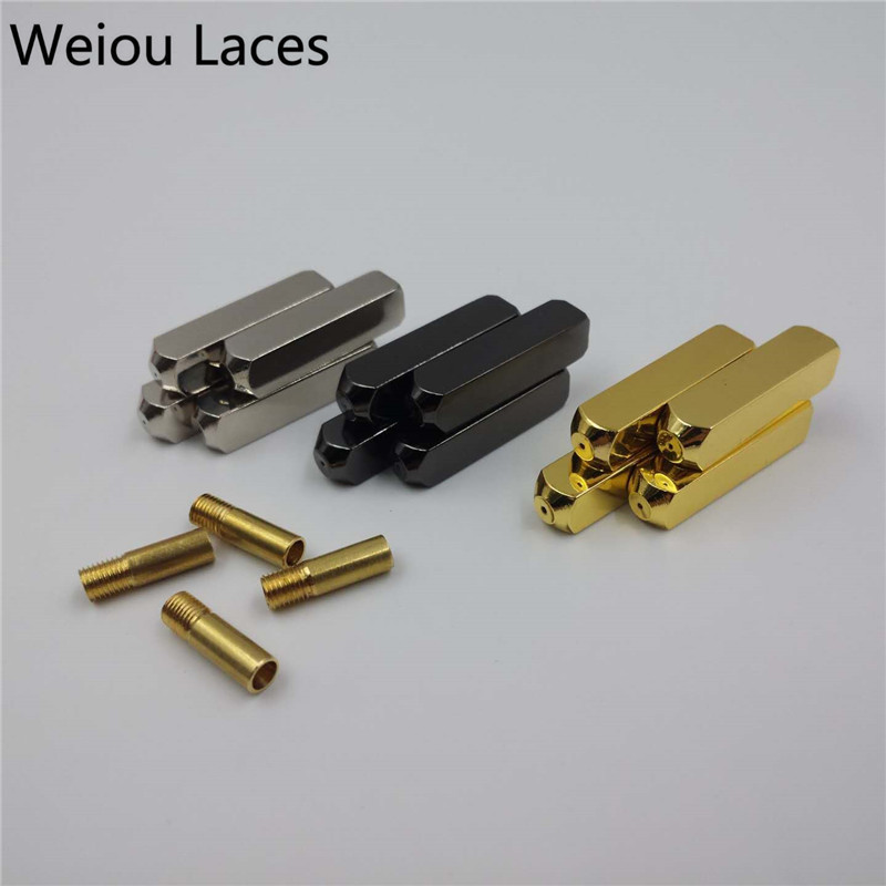 Weiou (20pcs/5 Sets) New Luxury Screw On Aglets Mirror Gold Silver Gun Black Shoelace Tips Support Custom Logo DIY Accessories weiou 1000pcs lot 4x22mm shoelace metal bullet tips replacement shoes clothes lace repairing support custom logo on the aglets