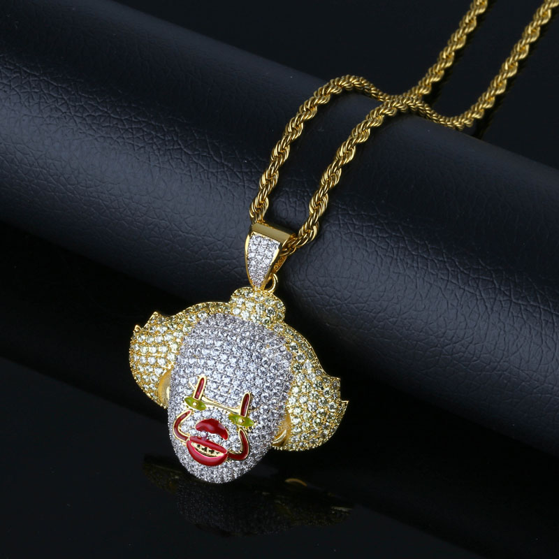 Fashion hip hop cosplay classic clown pendant micro inlaid zircon hipster necklace