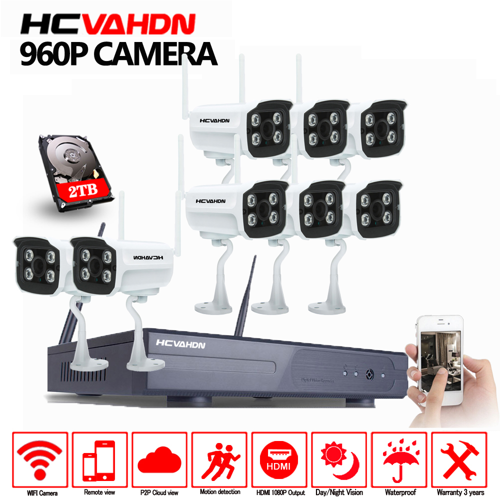 HCVAHDN Wifi 1080P NVR Surveillance Kit 8CH  Plug and Play 960P HD 1.0MP Wireless Waterproof Camera Night Vision CCTV SystemHCVAHDN Wifi 1080P NVR Surveillance Kit 8CH  Plug and Play 960P HD 1.0MP Wireless Waterproof Camera Night Vision CCTV System