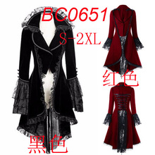 e7d800118ef Halloween costume Women Lace Trim Lace-up High Low Coat Steampunk Victorian  Style Gothic Jacket