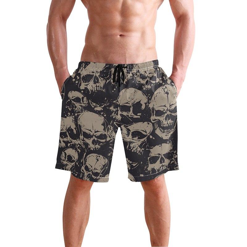 Cráneo playa Shorts hombres traje de baño malla forro sudor natación bañadores Sexy negro Plavky Mens trajes de baño Surf bermudas