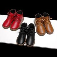 Kids Martin Boots Winter Shoes for Girls Winter Boots for Children Footwear Girl Leather Boots Black Brown Red Lace Up Boots