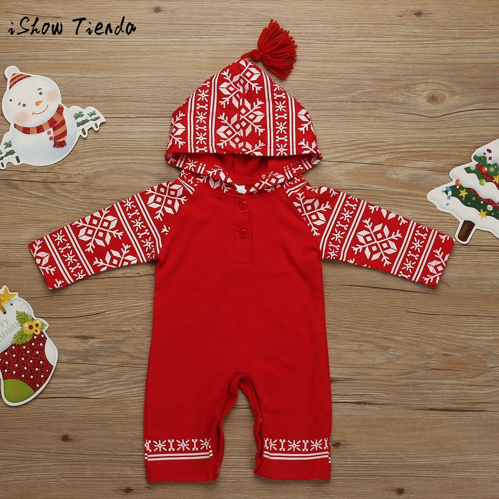 kids Newborn Baby winter clothing set Tassel Hooded Printing Romper Jumpsuit Pajamas Christmas costume outfit suit for new year