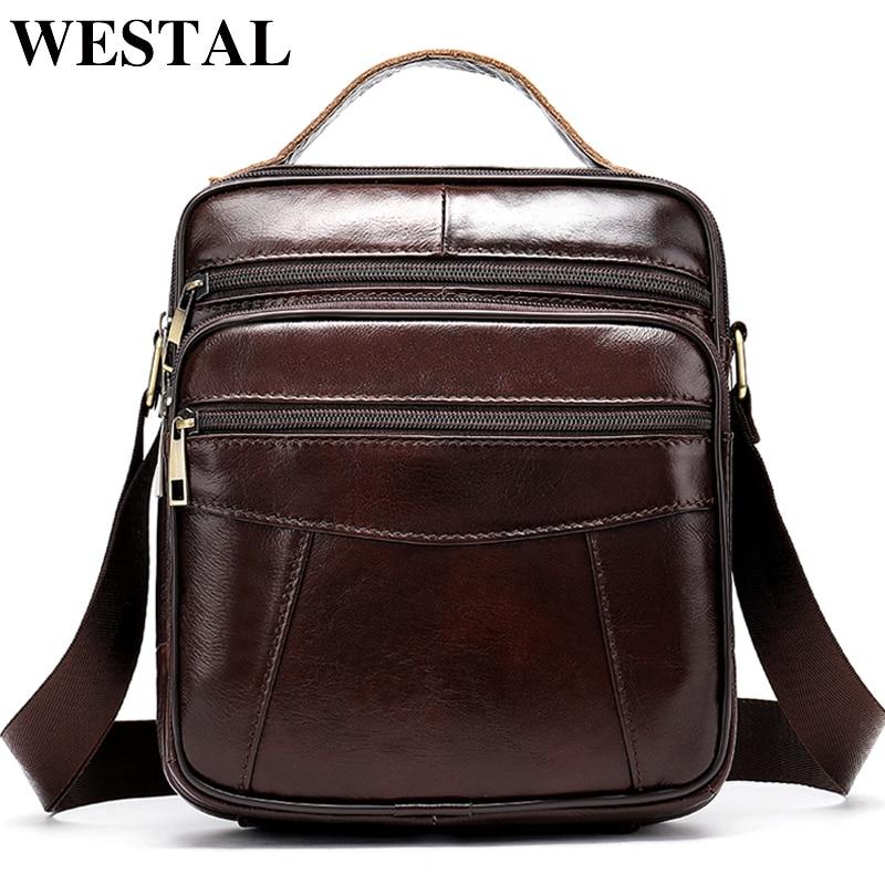WESTAL Bag Men's Genuine Leather Crossbody Bags For Men Vintage Messenger Bag Man Leather Small Shoulder Bags Ipad Handbags 8318