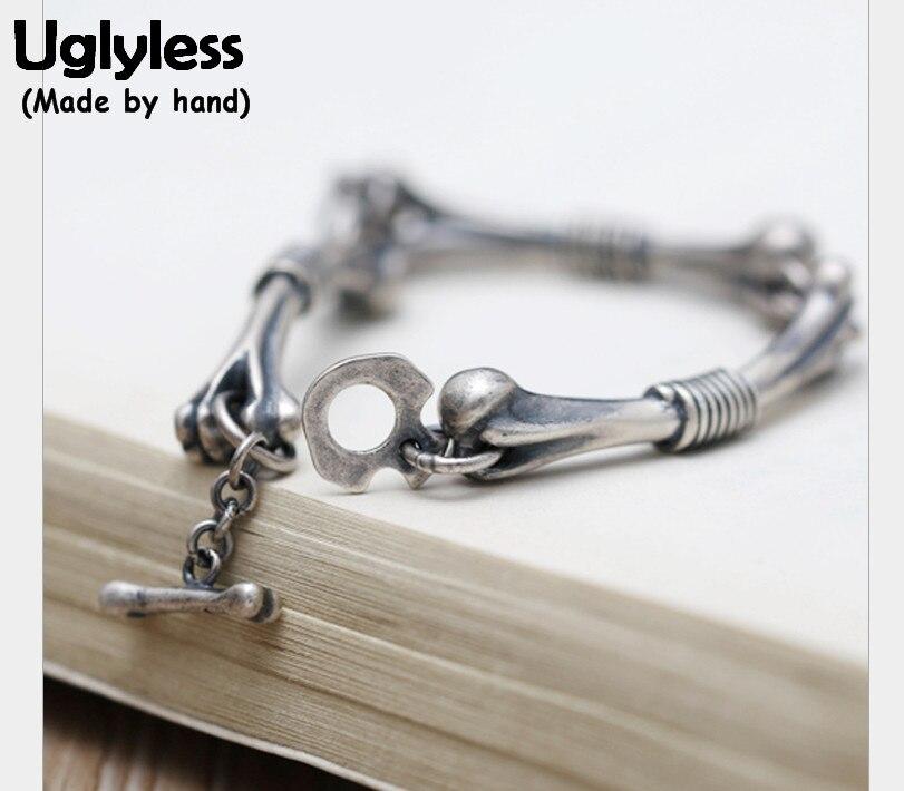 Uglyless Real S 990 Silver Bones Bracelets Steam Punk Gothic Unisex Thai Silver Bracelet Cool Personalized