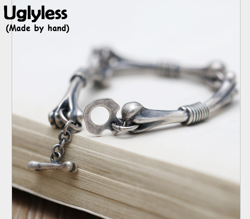 Uglyless Real S 990 Silver Bones Bracelets Steam Punk Gothic Unisex Thai Silver Bracelet Cool Personalized Fine Jewelry Handmade s cool