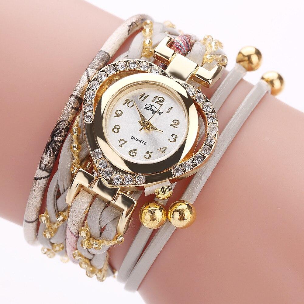 Duoya Hot Sale Women Watch Fashion Casual Leather Strap Heart Shaped Rhinestone Bracelet Watch Ladies Quartz WristWatch Reloj533