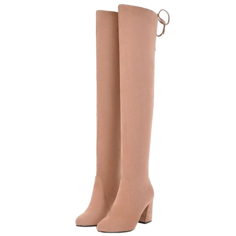 Faux Chaussures rose Grande Avec Point gris Sjjh Over Noir sur Courte Chunky Femmes the Slip Suede Peluche Taille A945 Formelle genou Mode Toe Bottes dCxeWorB