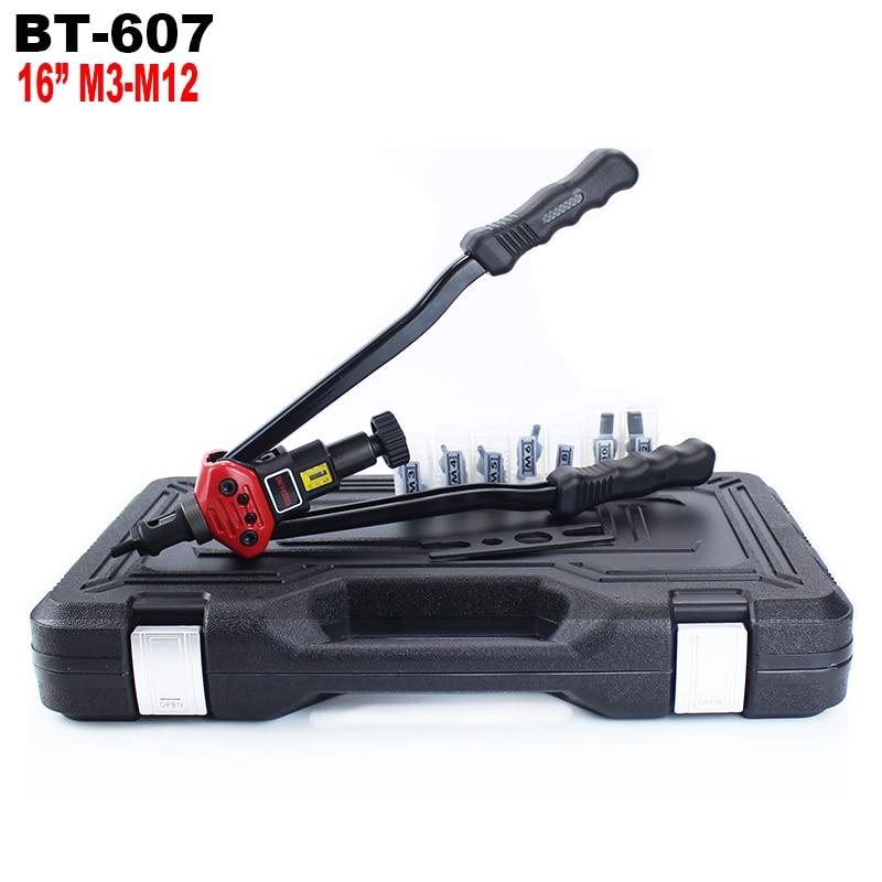 """YOUSAILING BT-607 16"""" (400MM) Blind Hand Riveter Handle Rivet Nuts Gun With Plastic Case M3/M4/M5/M6/M8/M10/M12"""