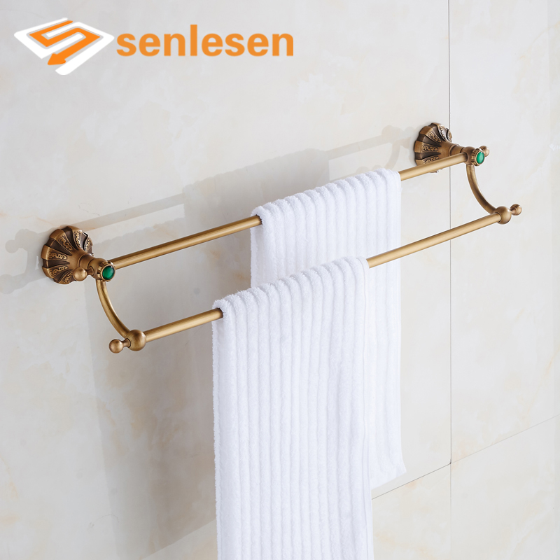 Wholesale And Retail Antique Brass Towel Rack Holder Dual Towel Bars for Bathroom partol black car roof rack cross bars roof luggage carrier cargo boxes bike rack 45kg 100lbs for honda pilot 2013 2014 2015