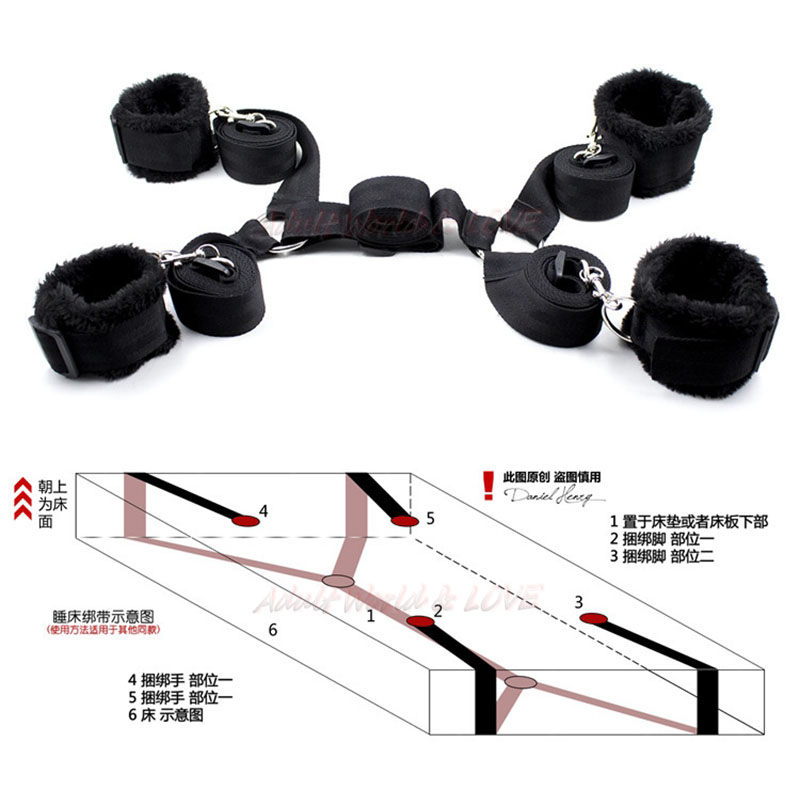 Couples flirting Adult Game Sex Products Handcuff Underbed Bed Restraint Kit Hidden Fetish Bondage Sex Toys For Couples