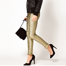 Parthea Fashion Gold Sequins Pants Women Trousers Silver Sparkle Metallic High Waist Elastic Pencil Long 2019