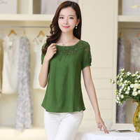 2016 Fashion Women Shirt Plus Size Real Summer Large Size Women S Cotton Short Sleeved Blouse