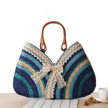 Fashion Bohemia Summer Women Lace Bow Straw Weave Rattan Handbag straw Beach Bag Woven Shoulder Tote Shopping Beach Bag 1