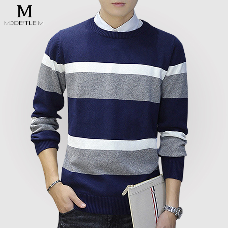 Christmas Pure Cool Casual Cotton Striped Knitted font b Sweater b font Men Winter Brand Casual