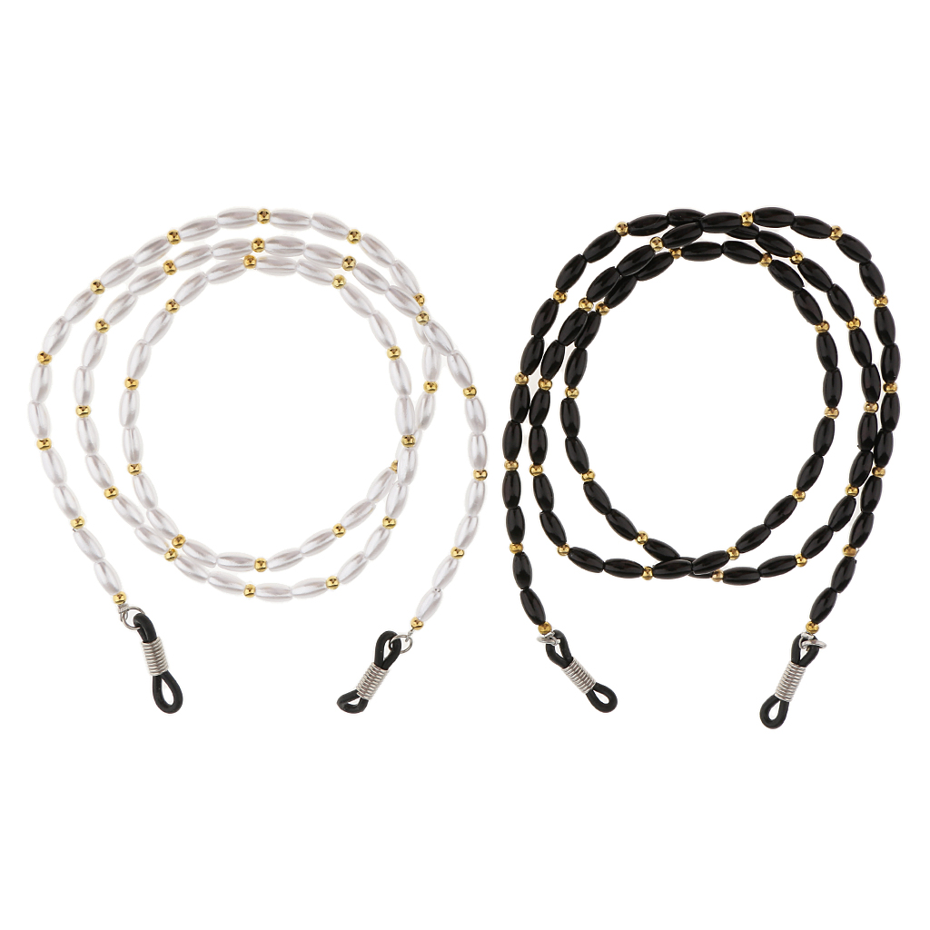 2pcs High Quality Acrylic Beaded Sport Eyeglass Sunglasses Holder Necklace Eyewear Chain for Outdoor Activities in Eyewear Accessories from Apparel Accessories