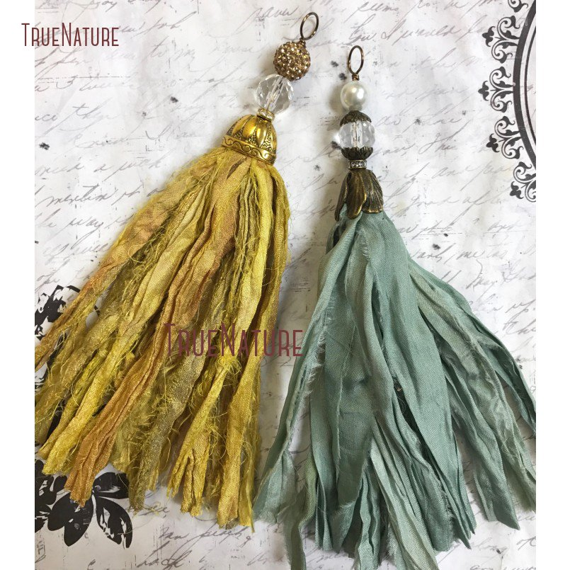 Handcrafted <font><b>Sari</b></font> <font><b>Silk</b></font> <font><b>Tassel</b></font> Sage Green Or Goldenrod Gold Boho Energy <font><b>Silk</b></font> <font><b>Tassel</b></font> Pendant Antique Brass Cap 6.8 inch PM14460 image