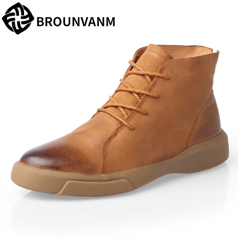 Martin boots in the snow boots for men leather men shoes low male winter warm cashmere boots with male cowhide cashmere breathab ...
