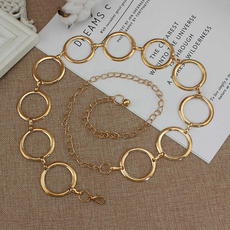 2019 Fashion Girls Metal Waist Chain Gold Plated Belt Decoration Belt for Dresses Women Circle Metal String  Designer Belts