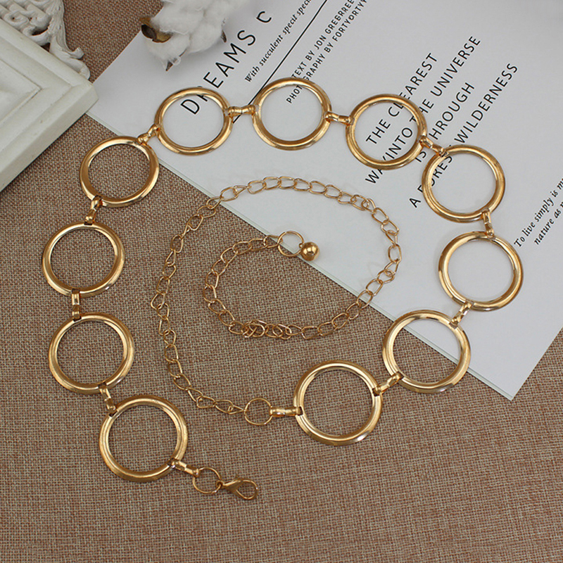 2020 New Arrival Silver Ring Chain Belt Fashion Elegant Gold Metal Female Round Alloy Women Circle Waist Dress Belts