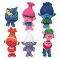 6 pçs/lote Trolls Papoula Ramo Biggie Moive Ação Figura Brinquedos Dos Desenhos Animados Brinquedos DreamWorks Trolls Hora do Abraço de Papoula Figura Boneca de Brinquedo