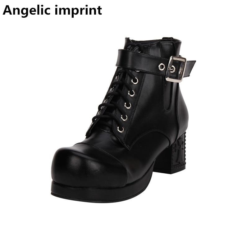 Chica Angelical Botas Bombas Mujeres Altos Señora 44 Tacones Corto Mujer Lolita 34 Motocicleta Hebilla Impresión Punky Negro Mori Zapatos zEOwEd