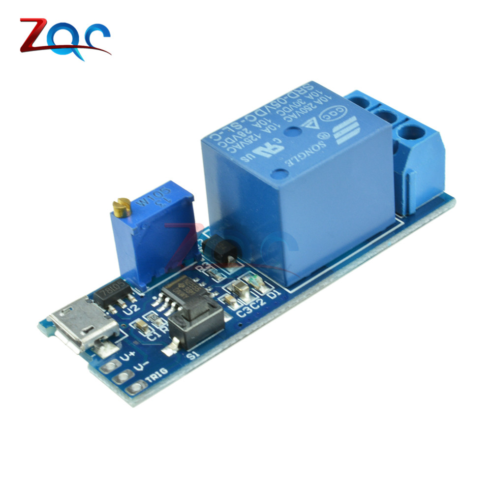Wide Voltage DC 5V-30V Micro USB Power Adjustable Delay Relay Timer Control Trigger Delay Conduction Relay Switch Module 12V 24V