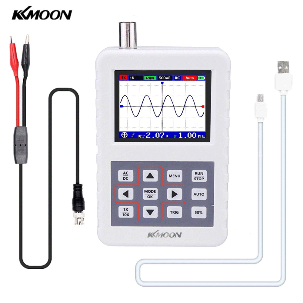 KKmoon DSO Handheld Oscilloscope with P6100 Oscilloscope Probe 5M Bandwidth 20MS s Sampling Rate Mini Palm