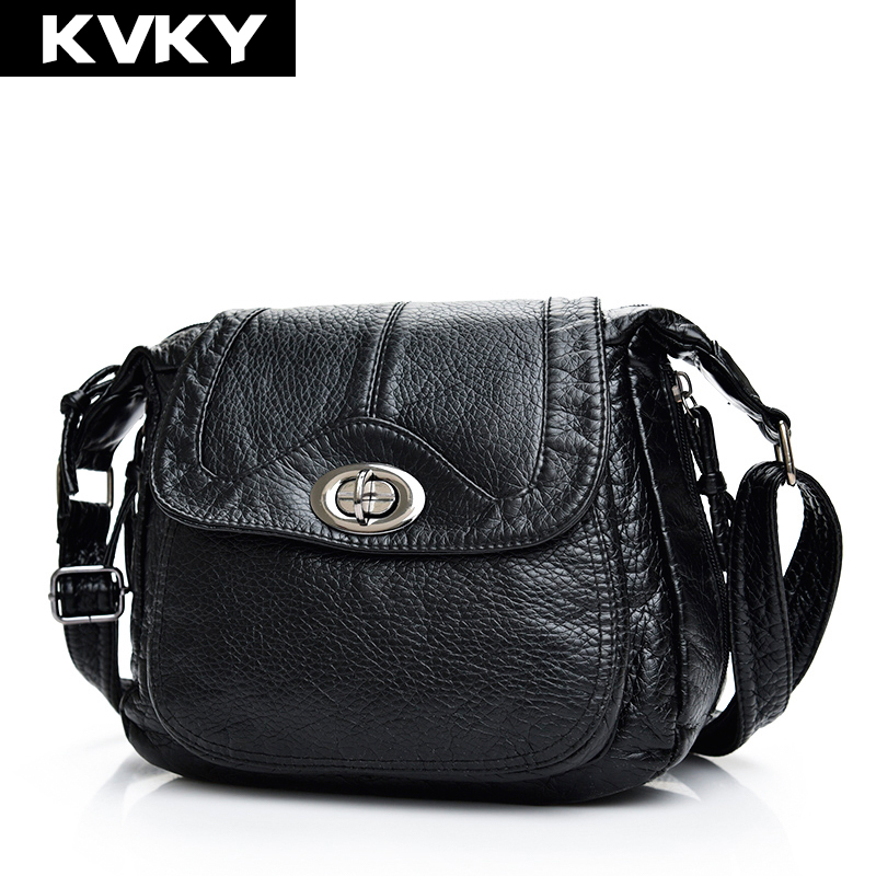 KVKY Brand Fashion Women Shoulder Messenger Bags High Quality Soft Leather Handbags Causal Portable Crossbody Bags Totes Bolsos bailar fashion women shoulder handbags messenger bags button rivets totes high quality pu leather crossbody famous brand bag