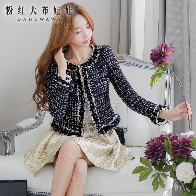 dabuwawa new fashion 2016 brand slim elegant plaid woolen tweed short jacket outerwear women autumn and