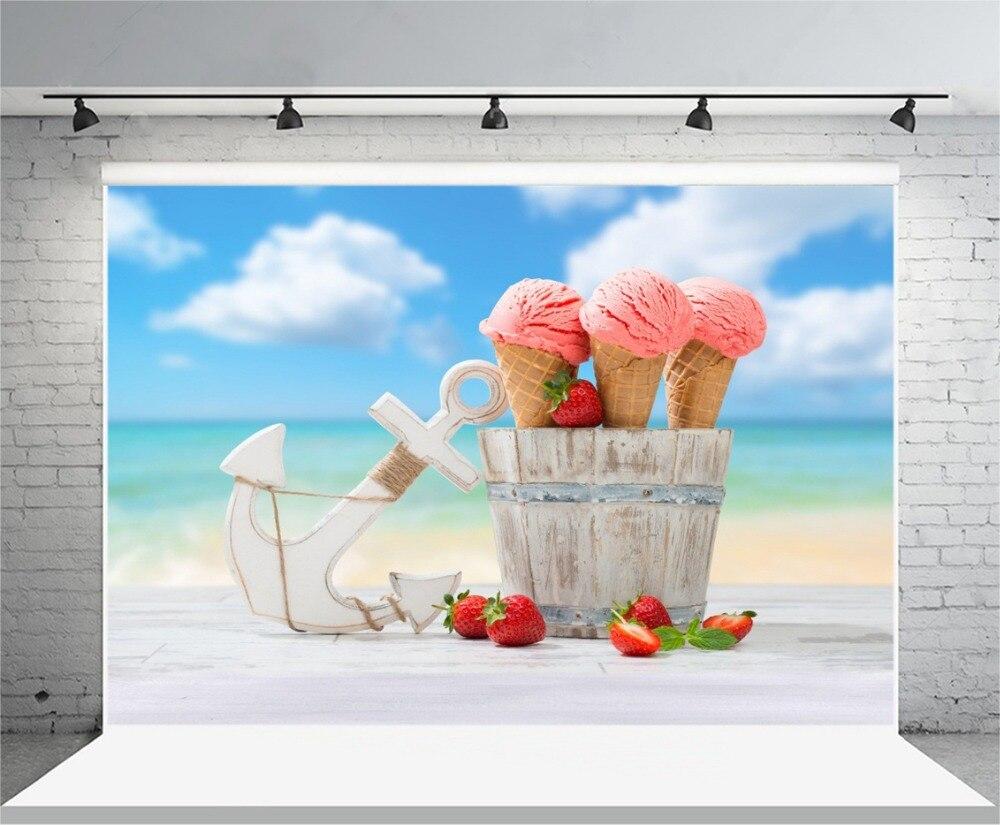 Laeacco Summer Seaside Icecream Strawberry Anchor Baby Photography Backgrounds Vinyl Custom Camera Backdrops For Photo Studio
