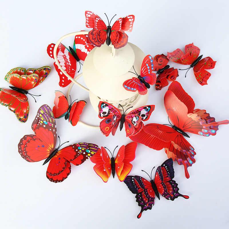 12 قطعة/المجموعة متعدد الألوان مزدوجة طبقة 3D فراشة الجدار ملصق المغناطيس PVC الفراشات حزب الاطفال نوم الثلاجة الديكور 10 اللون