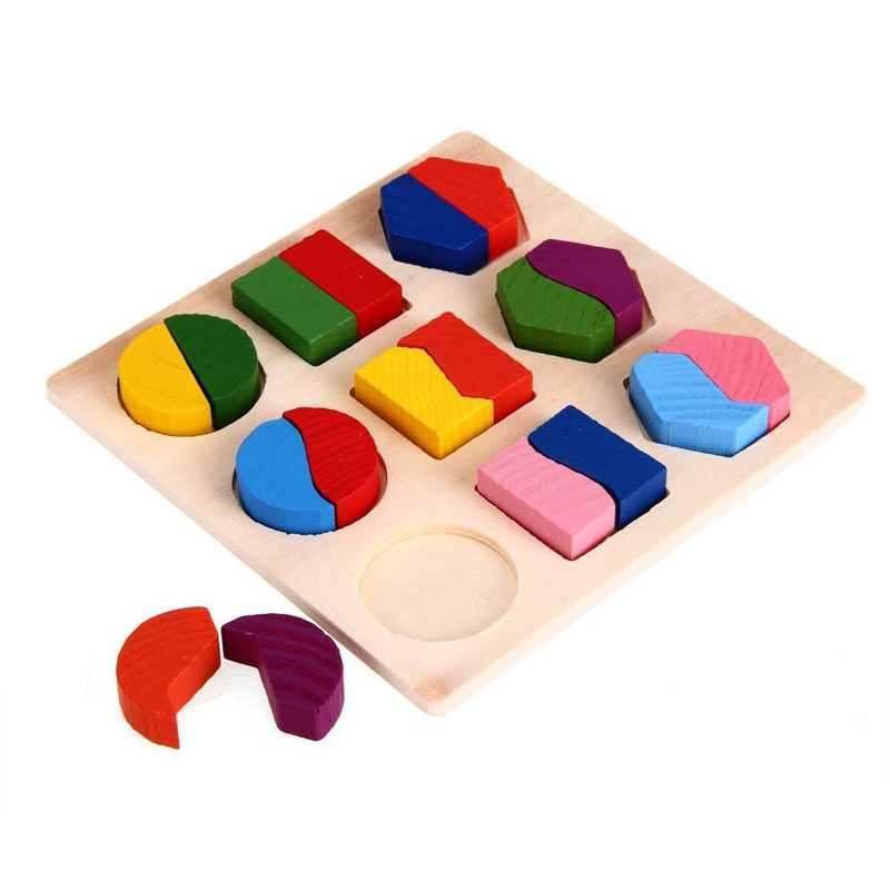 Купить с кэшбэком Kids Baby Wooden Learning Geometry Educational Toys Puzzle Montessori Early Learning Toys 88 BM88