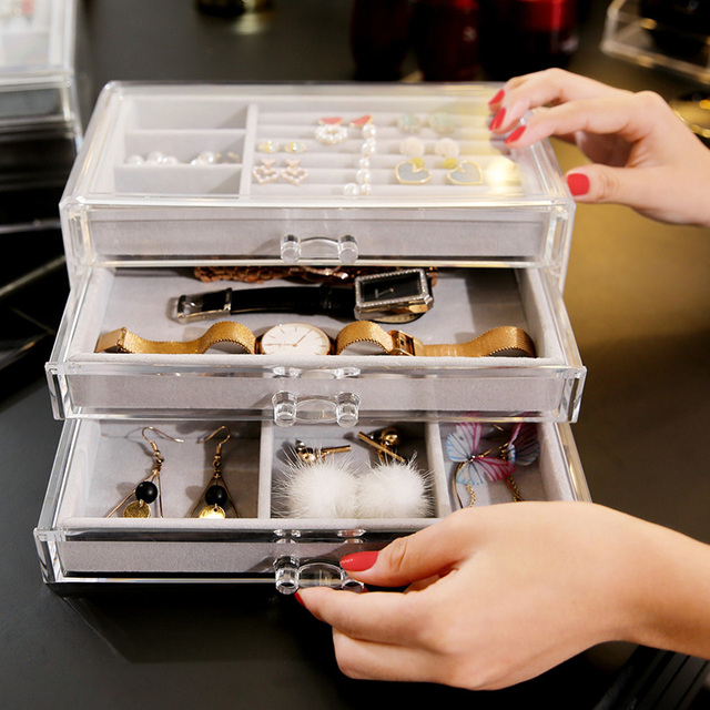 3f5f90360033 US $25.59 43% OFF|ANFEI 3 Drawers Acrylic Drawer box Makeup Organiz  Lipstick Holder Display Stand Clear Acrylic Cosmetic Organizer Makeup C171  -in ...