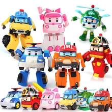 6 개/대 한국 완구 robocar poli 변환 로봇 poli amber roy 자동차 모델 애니메이션 액션 피규어 어린이를위한 최고의 선물