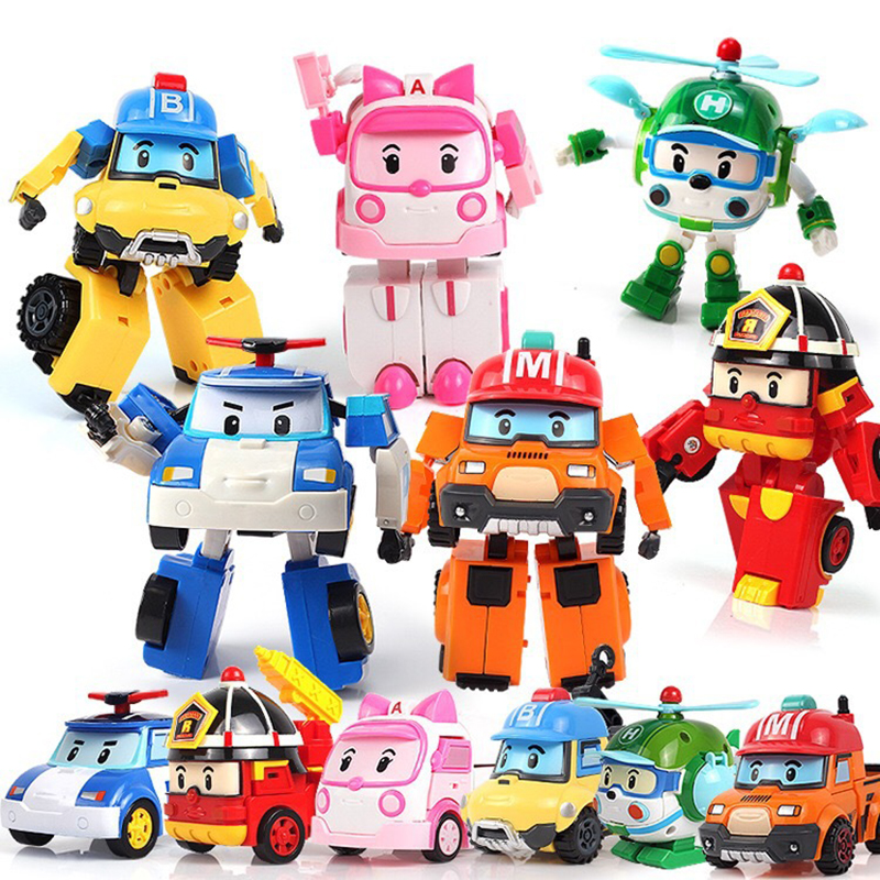 6pcs/Set Korea Toys Robocar Poli Transformation Robot Poli Amber Roy Car Model Anime Action Figure Toys For Children Best Gift