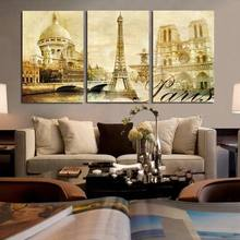 Vintage Poster Paris World Famous Building Tower Picture Frame Decorative Paintings for Living Room Study Room Decor(China)