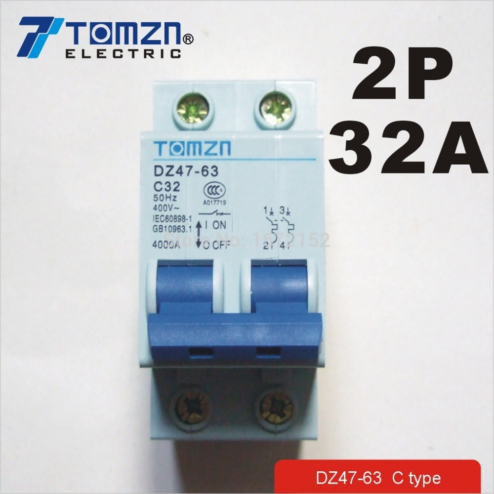 2P 32A 400V~ 50HZ/60HZ Circuit breaker AC MCB safety breaker C Type dz47 100h 63a 2p ac 230v or 400v mini circuit breaker mcb cutout switch breaker switch chopper 2pcs
