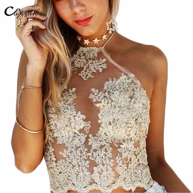 Cuyizan Summer white Lace crop top Sexy women backless tank top Fashion  Elegant camis blusa gauze