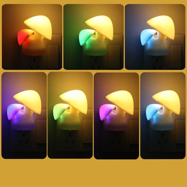 Ue Plug 7 Colores Cambiar Mushroom Enchufe De Pared Luces De Noche