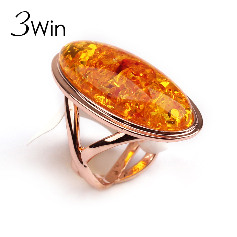 WinWinWin Noble Ambar Rings for Men Women Rose Gold Color Ambar Ring for Party Wedding Gifts anillos Fashion Bridal Jewelry