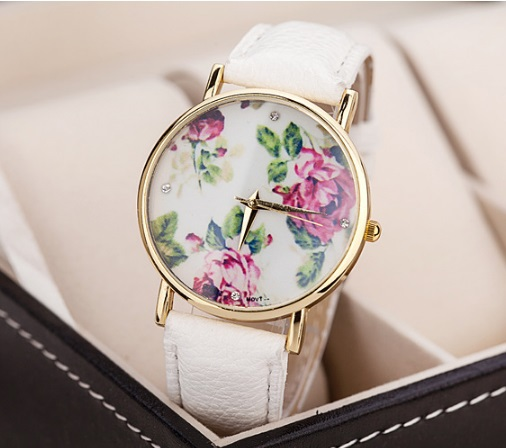 New HOT Seller Geneva Flowers Watch Women PU Leather wristwatch casual dress watch Gift reloj